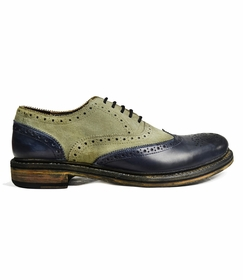 Grey and Navy Blue Wing Tip Shoes by Paul Malone