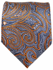 Grey and Orange Paisley Men's Tie