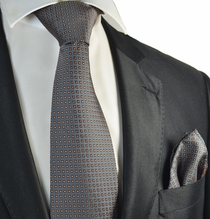 Grey and Orange Polka Dot Tie and Pocket Square Set