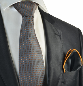 Grey and Orange Polka Dot Tie with Contrast Rolled Pocket Square