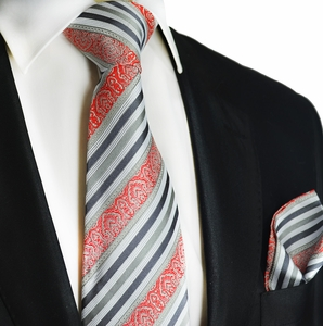 Grey and Red Striped Silk Tie and Square by Paul Malone