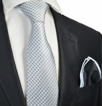 Grey Checked Tie with Contrast Rolled Pocket Square Set