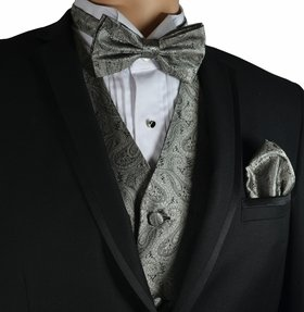 Grey Paisley Vest and Bow Tie Set by Paul Malone