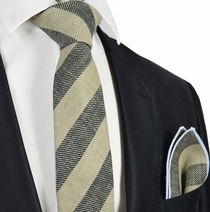 Grey Striped Linen Tie Set by Paul Malone