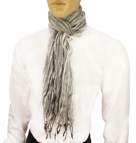 Grey Striped Men's Cotton Crinkle Scarf by Paul Malone