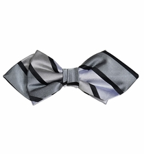 Grey Striped Silk Bow Tie by Paul Malone Red Line