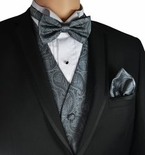 Grey Wedding Vest and Bow Tie Set by Paul Malone