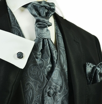 Gunmetal Grey Tuxedo Vest Set by Paul Malone