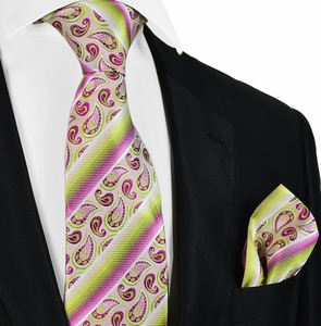 Heather Rose and Green Silk Tie Set by Paul Malone