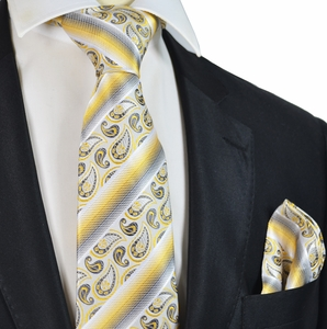Honey Gold and Grey Silk Tie Set by Paul Malone