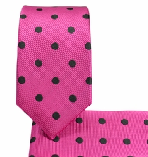 Hot Pink and Black Slim Necktie and Pocket Square