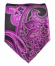Hot Pink and Black Paisley Necktie