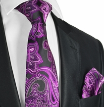 Hot Pink and Black Paisley Men's Tie Set