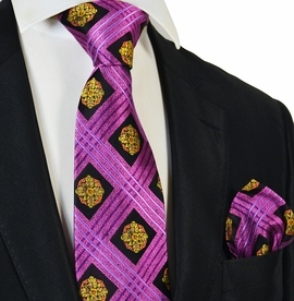 Hot Pink and Gold Steven Land Silk Tie and Pocket Square Set