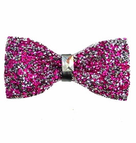 Hot Pink Crystal Bow Tie