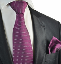 Hot Pink Polka Dot Tie and Pocket Square Set