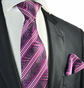 Hot Pink Striped Tie and Pocket Square Set