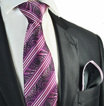 Hot Pink Striped Tie with Rolled Contrast Pocket Square Set