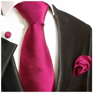 Hot Raspberry Silk Tie Set by Paul Malone