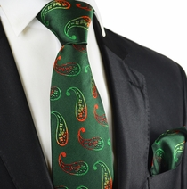 Hunter Green Paisley Tie and Pocket Square by Paul Malone