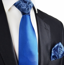 Imperial Blue Contrast Tie and Pocket Square Set