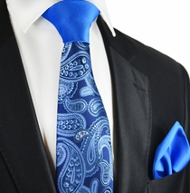 Imperial Blue Paisley Contrast Knot Tie Set by Paul Malone