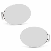 Infinity Edge Oval Engravable Cufflinks, Sterling Silver