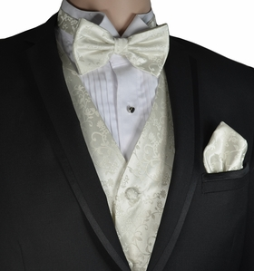 Ivory Vines Vest and Bow Tie Set by Paul Malone