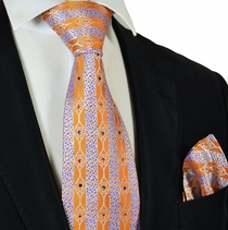 Jaffa Orange Steven Land Crystal Silk Tie and Pocket Square Set