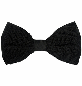 Black Knit Bow Tie and Pocket Square