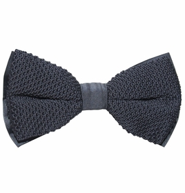 Knit Bow Tie and Pocket Square . Grey