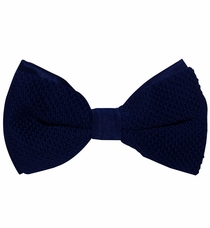 Knit Bow Tie and Pocket Square . Navy Blue