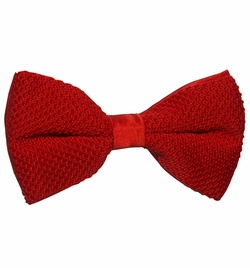 Knit Bow Tie and Pocket Square . Solid Red