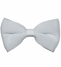 Knit Bow Tie and Pocket Square . White