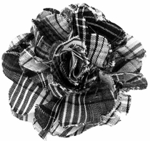 Lapel Flower . 100% Cotton . Black Plaid
