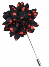 Lapel Flower . Black and Red Dots