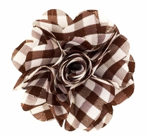 Lapel Flower . Brown Plaids
