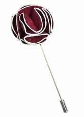 Lapel Flower . Burgundy and White