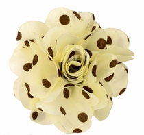 Lapel Flower , Ivory and Brown Polka Dots