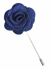 Lapel Flower . Navy Blue