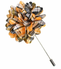 Lapel Flower . Orange Plaids