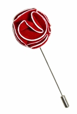 Lapel Flower . Red and White