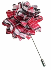 Lapel Flower . Red Plaids