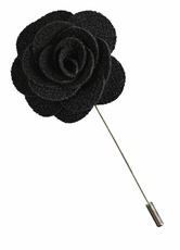Lapel Flower . Solid Black
