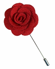 Lapel Flower . Solid Red