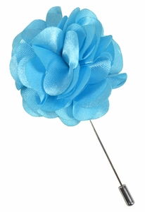 Lapel Flower . Solid Sky Blue