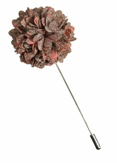 Lapel Flower . Tan with Coral