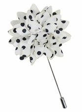 Lapel Flower . White and Black Dots