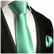 Solid Opal Necktie and Pocket Square (Q100-DDD)