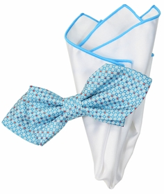 Lite Blue and White Bow Tie Set with Rolled Bordered Pocket Square